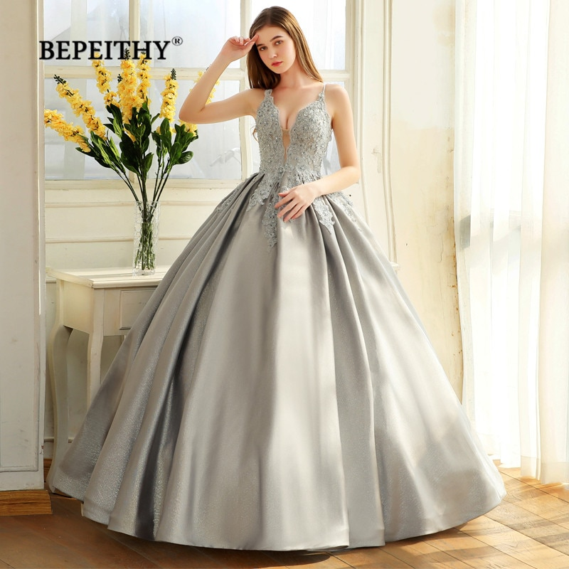 Bepeithy robe de soiree vestido de baile vestido de noite cintas de espaguete 2020 renda corpete glitter tecido abiye baile de formatura vestido de festa