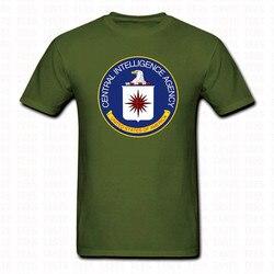 Verão Mens Central Intelligence Agency CIA TShirt Simples da Marinha DOS EUA preto O Pescoço Camisa de Algodão Encabeça Roupas de Marca Plus Size S-3XL