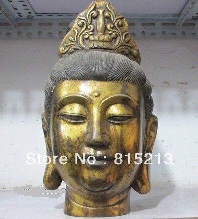 "Bi00608 13 ""templo Tíbet cobre Bronce gild Avalokiteshvara kwan-yin Estatua de Buda cabeza"
