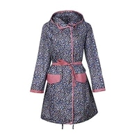 thin flower long raincoats women poncho waterproofoutdoors rain ponchos coat jackets female chubasqueros muje with belt