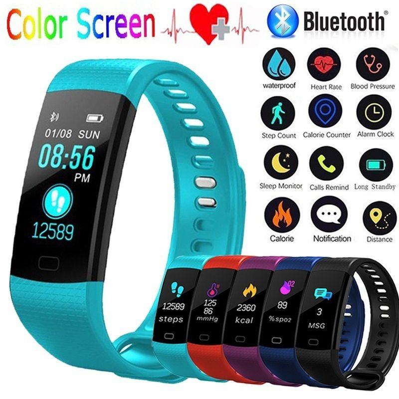 Y5 pantalla a Color impermeable Smartband inteligente Bluetooth Wrisrbands pulsera pulsómetro Monitor Medición de la presión arterial