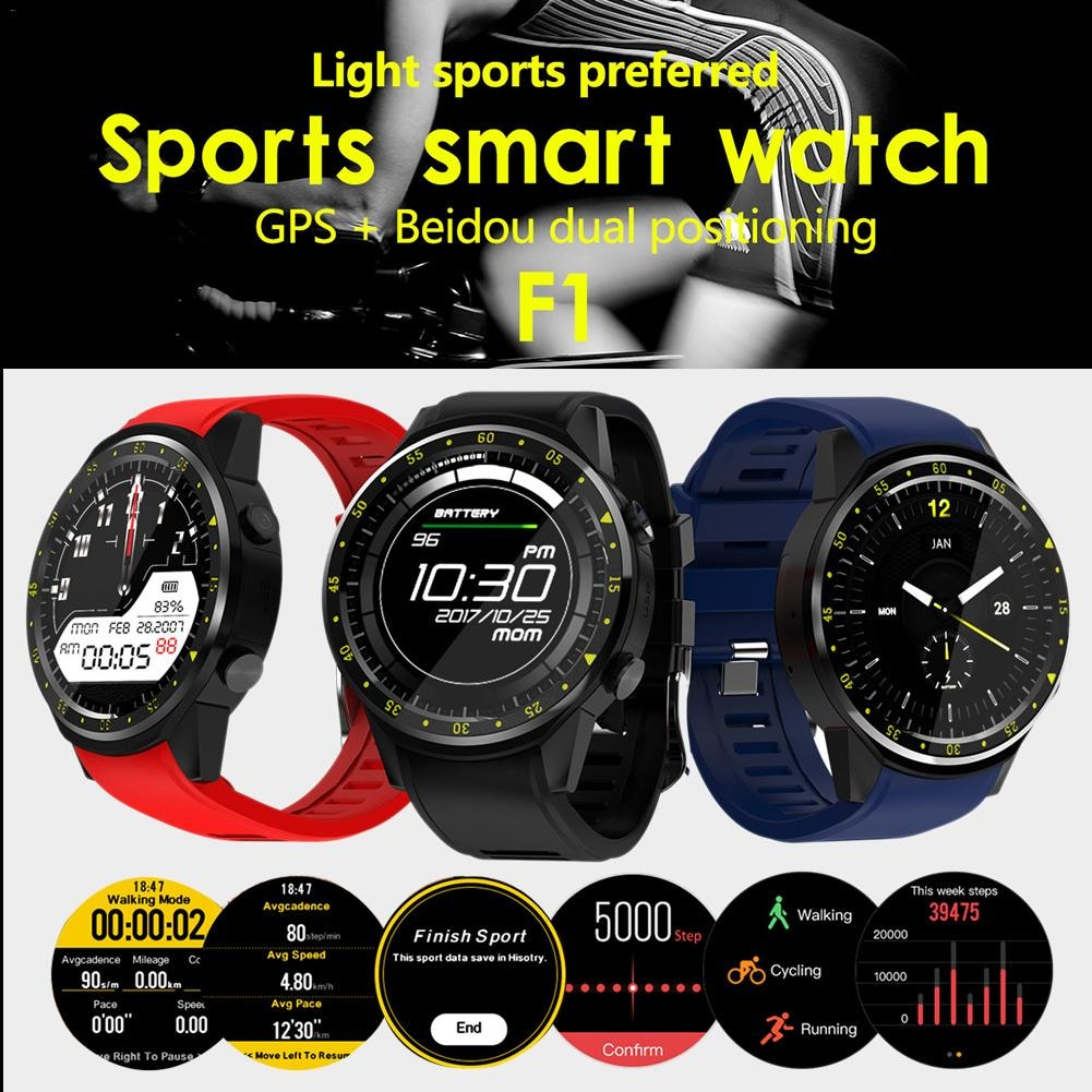 F1 1,3 pulgadas Bluetooth reloj inteligente 4,0 ronda completa Pantalla táctil IPS MT2503 Chip con pantalla táctil Batería grande de apoyo