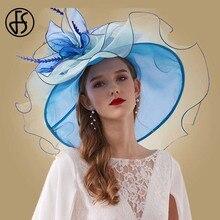 FS Royal Blue Wedding Church Hats For Women Elegant Large Wide Brim Fedoras Big Flower Feather Party Pink Kentucky Derby Hats