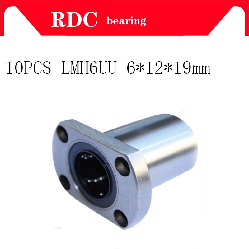 10 pçs/lote LMH6UU 6 flange linear motion bucha do rolamento de esferas linear de alta qualidade mm rolamento do eixo peças de impressora 3d cnc partes