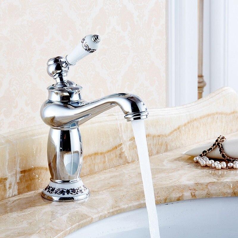 Высококлассные Ретро европейские Смесители для ванной комнаты Смеситель керамическое украшение покрытие одной ручкой горячей и холодной палубы крепление