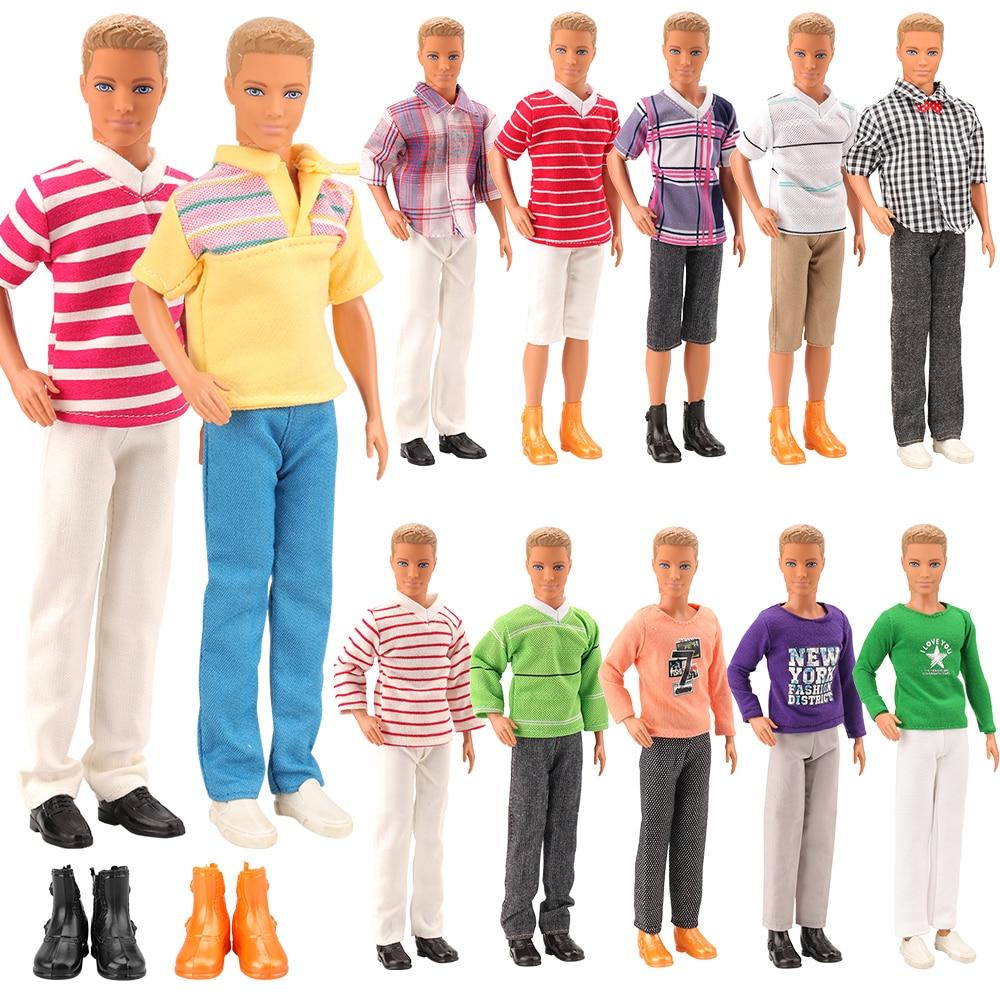 Gran oferta de 5 artículos/lote = 3 ropa de muñeco Ken + 2 zapatos de muñeca conjunto de accesorios al azar para Barbie Ken mejor regalo de Navidad