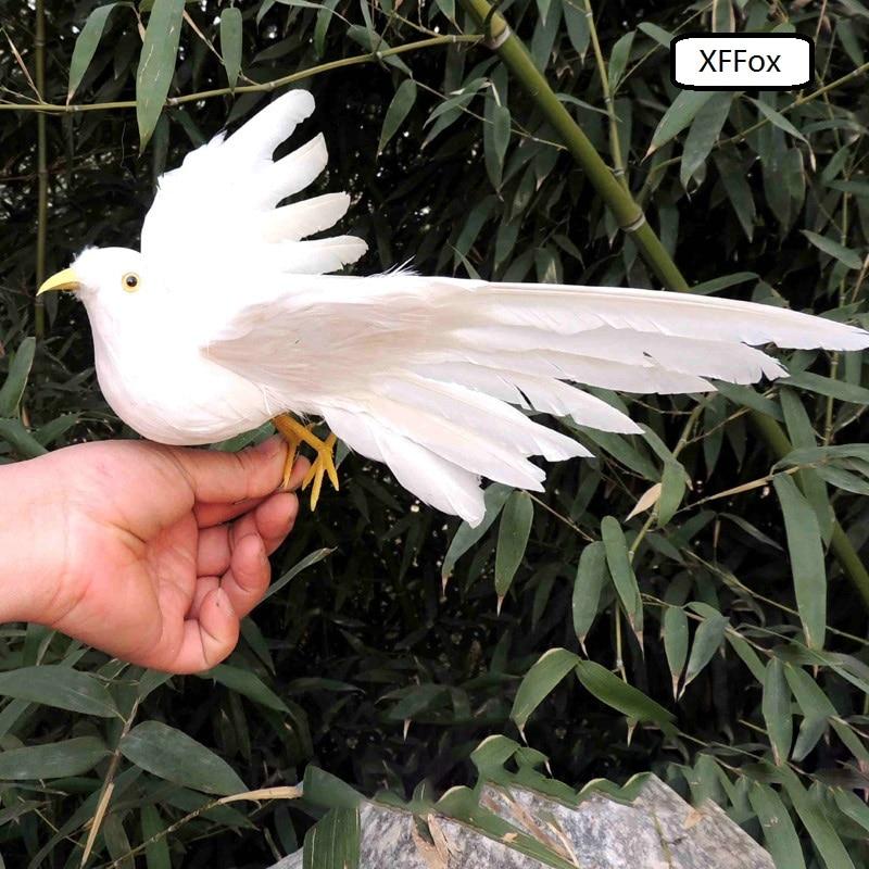 귀여운 실제 생활 흰색 비둘기 모델 거품 & 깃털 날개 비둘기 조류 인형 약 25x20 cm xf0075