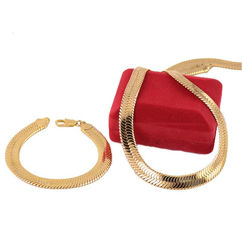 1 набор мужской и женский 10 мм Желтый Чистый золотой цвет набор ювелирных изделий елочка браслет ожерелье из цепей короткое ювелирных издел...