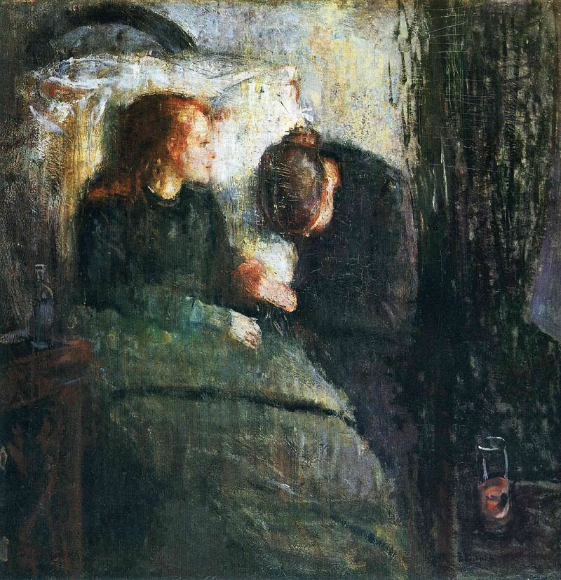 Размножение масляной живописи на льняном холсте, the-sick-child-ii-1896 Edvard Munch,100% ручная работа
