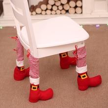 1pcs 2018 Table Leg Chair Foot Covers Xmas Party Decoration Navidad Xmas Funny Christmas Table Decor New Year Holiday Favor