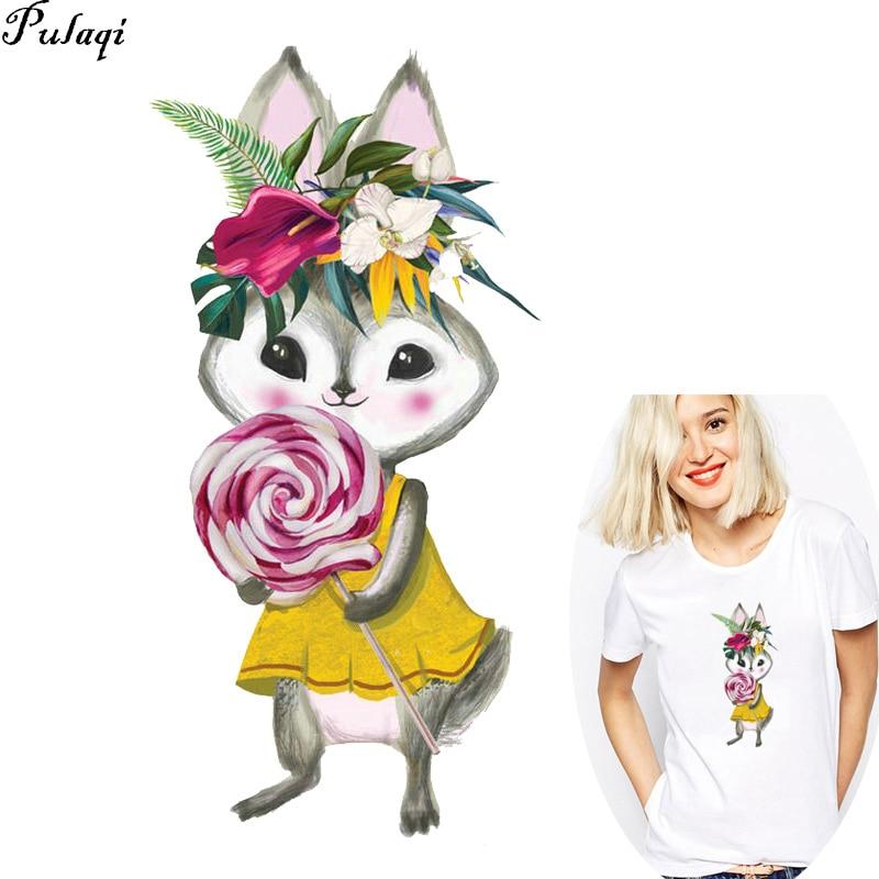 Pulaqi/Милая одежда с рисунком кролика, наклейки для передачи тепла, одежда, сделай сам, Детская футболка, пальто, одежда с аппликацией, Parches H