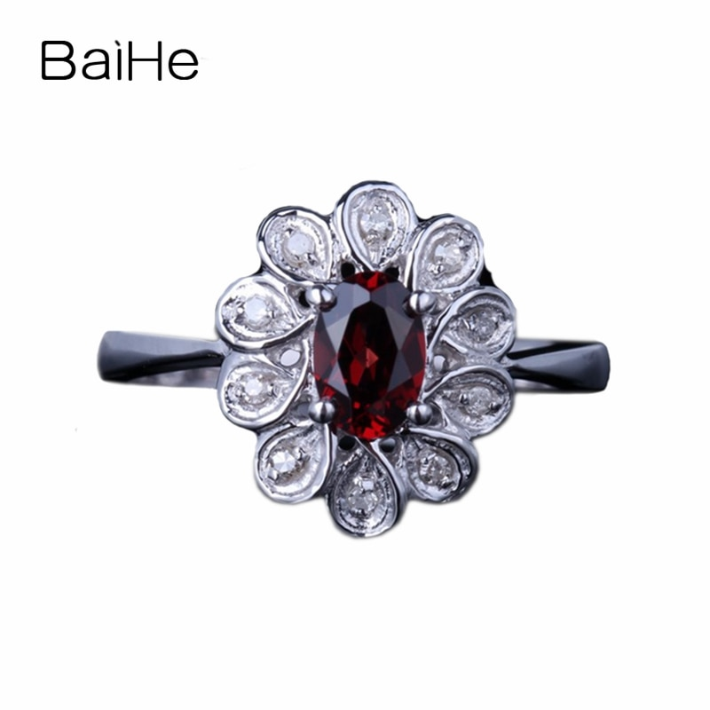 BAIHE Plata de Ley 925 0.624ct rojo perfecto ovalado granate regalo de compromiso boda mujeres delicado de moda joyería regalo granate anillo
