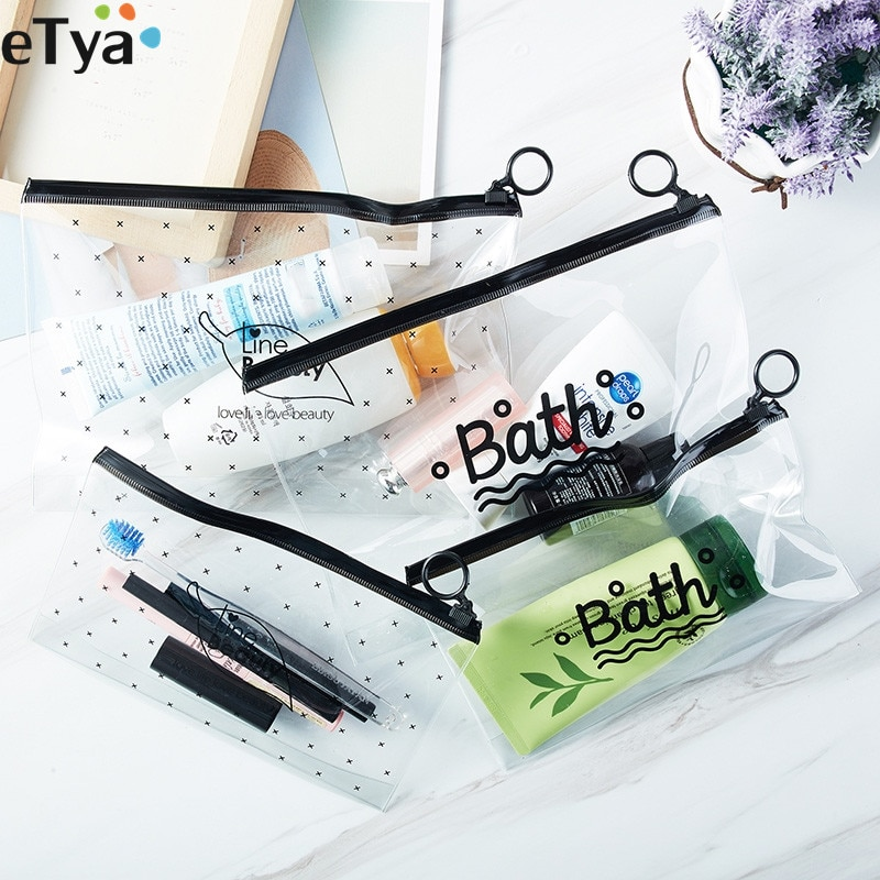 ETya Neceser transparente de PVC para mujer, Neceser de maquillaje, Neceser de baño, organizador de bolso de viaje