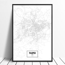 Taipei Taiwan Black White Custom World City Map Poster Canvas Print Nordic Style Wall Art Home Decor