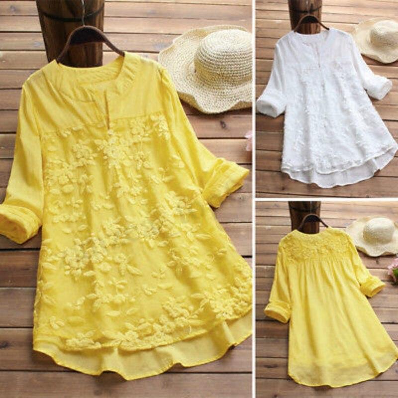 Vestido amarillo bordado, Vestidos De Verano para mujer 2019, manga larga, Sukienka Na Lato, cuello redondo, Verano, talla grande Xxxxl Xxxxxl