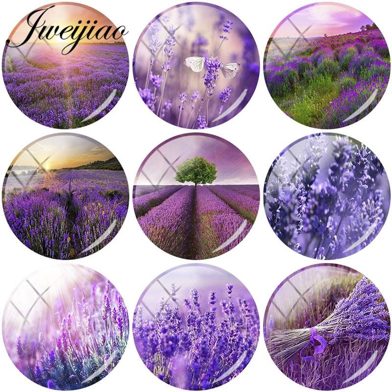 JWEIJIAO 5 sztuk/partia piękny fioletowy lawenda Art Picture DIY szklane kamienie kopuła dla broszka kolczyk brelok biżuteria ustalenia Charms