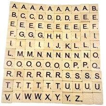 100 carreaux de Scrabble en bois noir lettres chiffres pour artisanat bois Alphabet moelleux slime jouets pour enfants A1