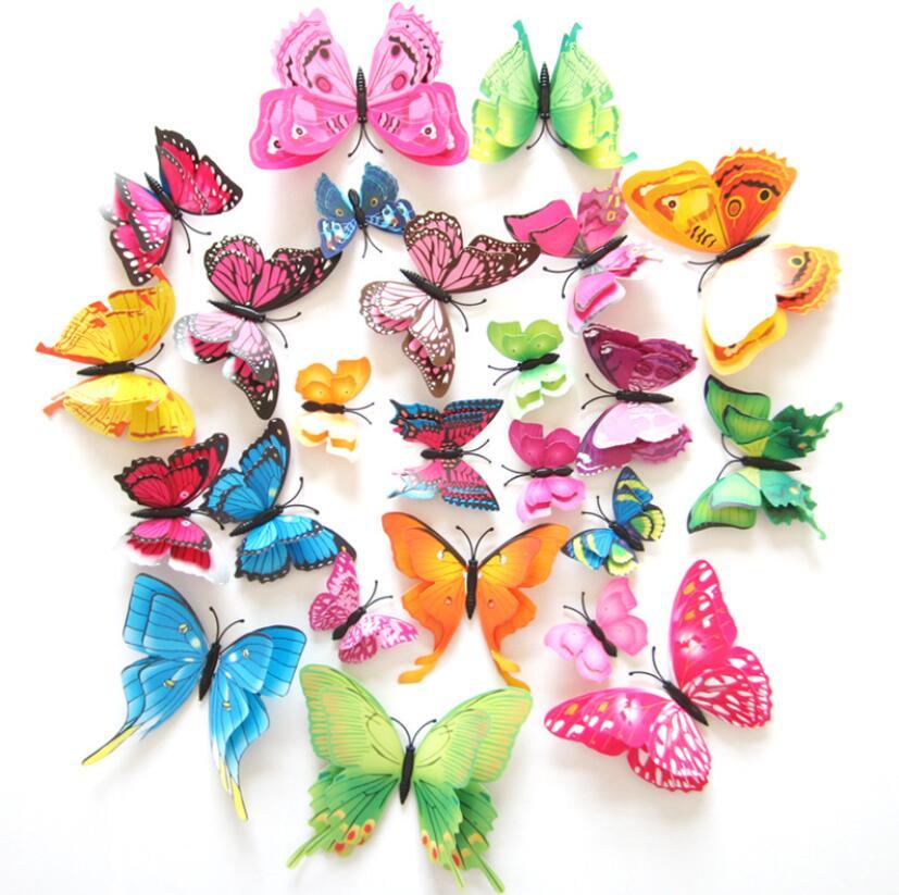 12 шт. ПВХ 3D двухслойный декор бабочки милые бабочки шторы наклейки украшение дома комната занавеска Украшение Искусство