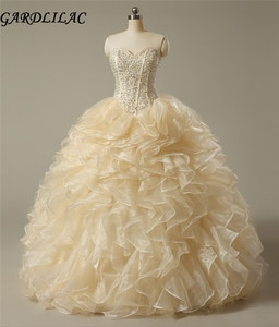 Vestidos de 15 anos Noble  Champagn  Quinceanera Dresses 2017 Sweetheart Organza Quinceanera Gowns  beading  Custom Made