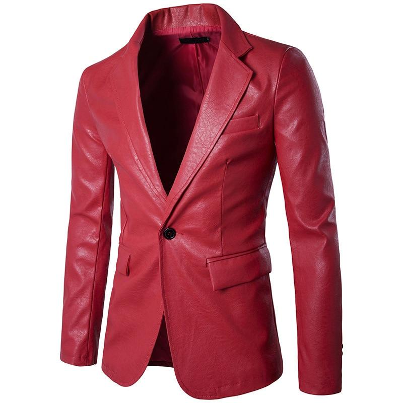 معطف رجالي أنيق لون نقي للبيع بالجملة من الجلد الصناعي بزر واحد بمقاسات أوروبية شحن مجاني معطف علوي للرقص والزفاف