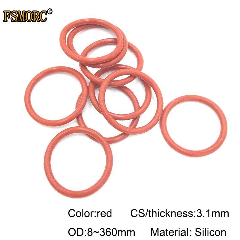 Juntas tóricas de silicona roja OD8mm ~ 360mm * 3,1mm de espesor juntas de grado alimenticio sin resistencia al calor veneno o juntas de sellado de anillo