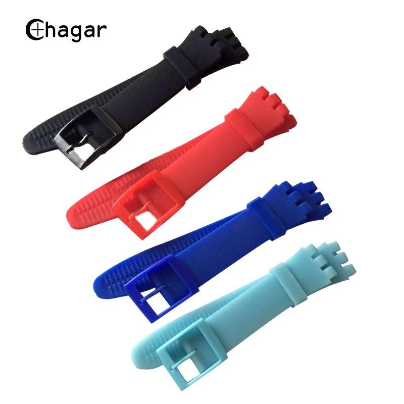 Высококачественные Аксессуары для часов, силиконовый ремешок для часов, 19 мм, 20 мм, цветной резиновый ремешок с пластиковой пряжкой, ремешок...