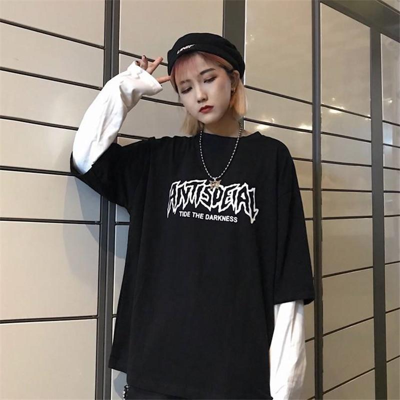Bonita letra impresa Japón Harajuku negro blanco Hip Hop camisetas hombres mujeres primavera falso dos piezas de manga larga suelta camiseta Mujer