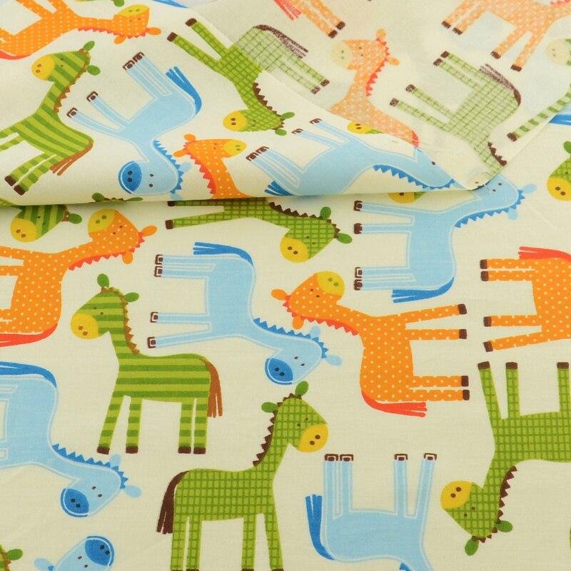 Tela de algodón Teramila de dibujos animados, verde, amarillo, azul, Diseño de caballo, decoración de cama, Patchwork, acolchados, artesanías de costura