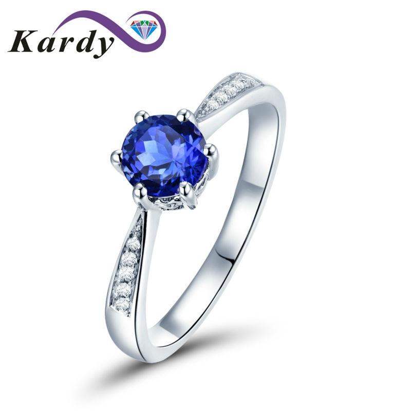 وعد الأحجار الكريمة تنزانيت (1.15ct) الماس 14K الذهب الأبيض المرأة خاتم للخطوبة الزفاف مجموعة للنساء