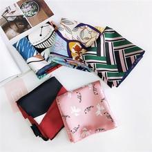 Foulard carré pour femmes élégant   Petit foulard moulant Vintage, rétro, cou de tête, écharpe en soie, foulards carrés, 2019