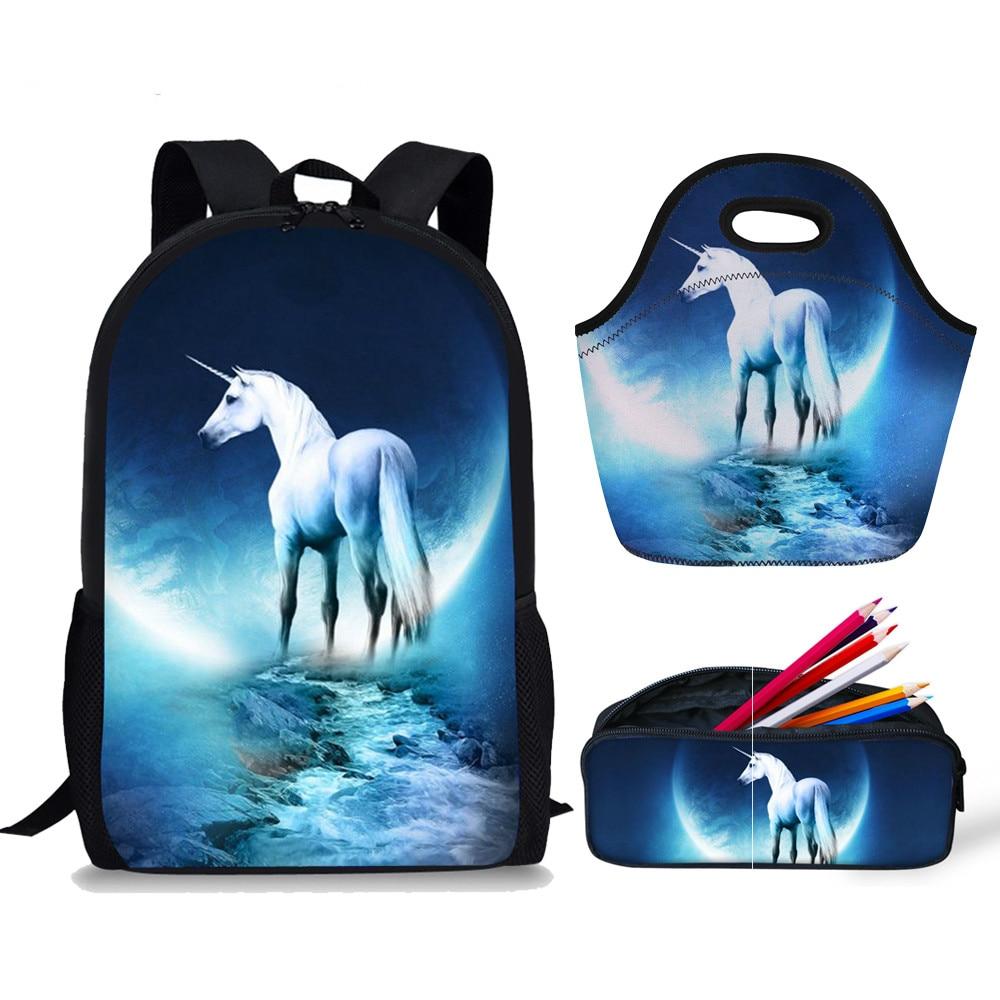 Plecak dla kobiet plecak szkolny jednorożec Crazy Horse torby szkolne 3 zestaw zwierząt projekt plecak dla dzieci torby szkolne dla dziewczyn Drop Shipping