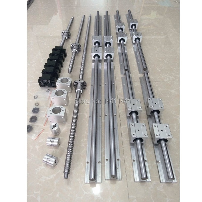 SBR16 الخطي دليل السكك الحديدية 6 مجموعة SBR16 - 300/520/670 مللي متر + SFU1605 - 350/570/720 مللي متر ballscrew + BK12 BF12 + الجوز الإسكان cnc أجزاء
