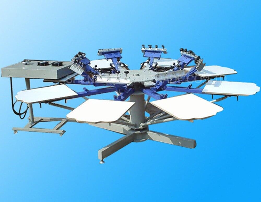 1 pcs HD-801 Elétrica Rotary máquina de 8 cores 8 estação T-shirt de transferência de Calor máquina de impressão da tela comeswith base