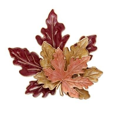 Senfai antiguo tono dorado Metal aleación de Zinc rojo amarillo naranja esmalte hoja de arce moda broche pines Mejores Regalos para la madre