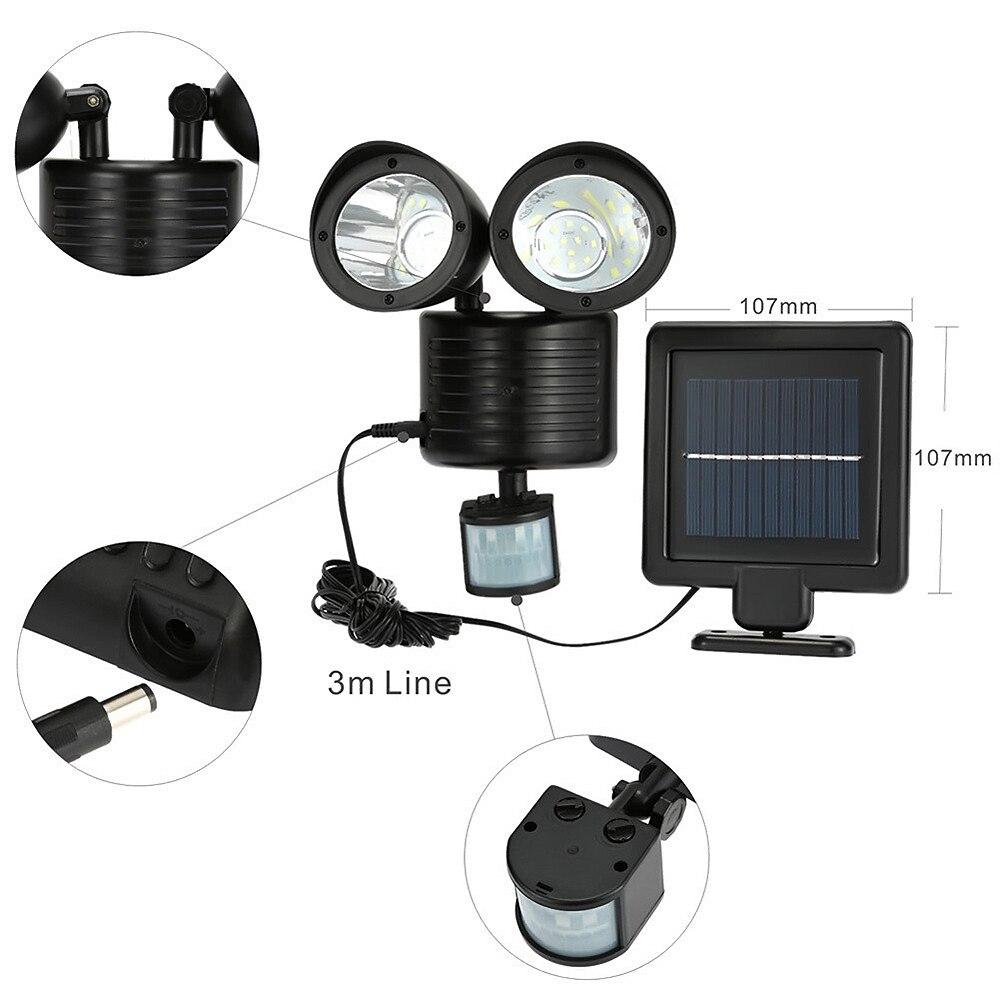 22LED Solar garden light Powered Dual Head Flood Security outdoors Light PIR Motion Sensor Path Wall Lamps Emergency Floodlight