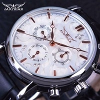 jaragar 3 dial diamond display genuine leather strap ripple design men watches top brand luxury mechanical automatic watch clock