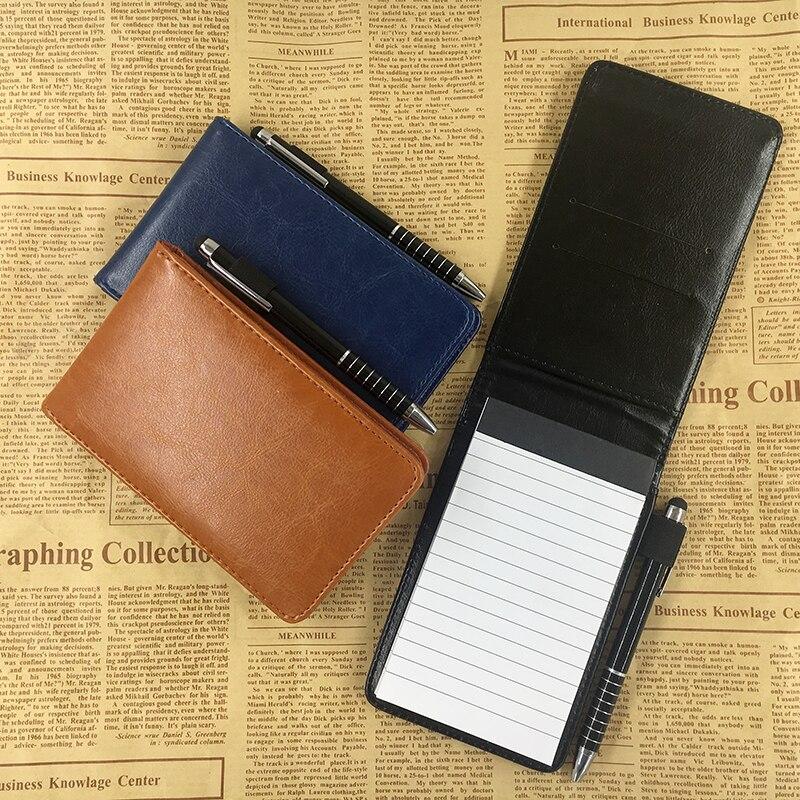 RuiZe wielofunkcyjny mały notatnik A7 planner skórzany notes kieszonkowy mini zeszyt z piórem notatnik biurowy