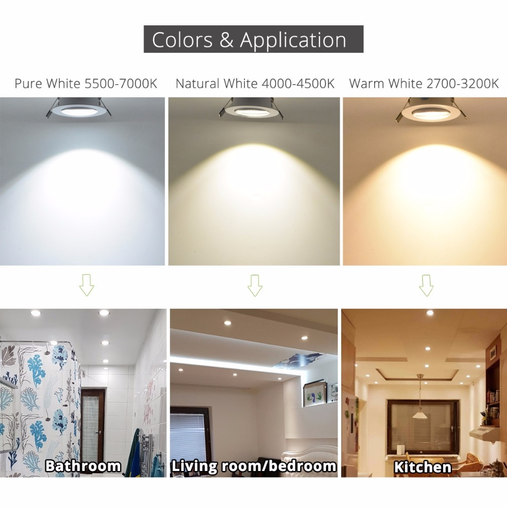 Купить с кэшбэком Silver White Black LED Spot Encastrable it Downlight Dimmable 3W 5W 7W 10W Recessed lighting Safety Healthy for home