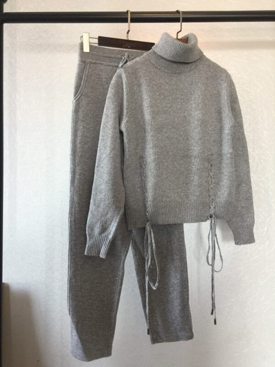 Tracksuits Promotion Wool Full 2020 Spring New Cashmere 2 Piece Set Classic Cross Tie Fashion Casual Two-piece Suit Female Solid