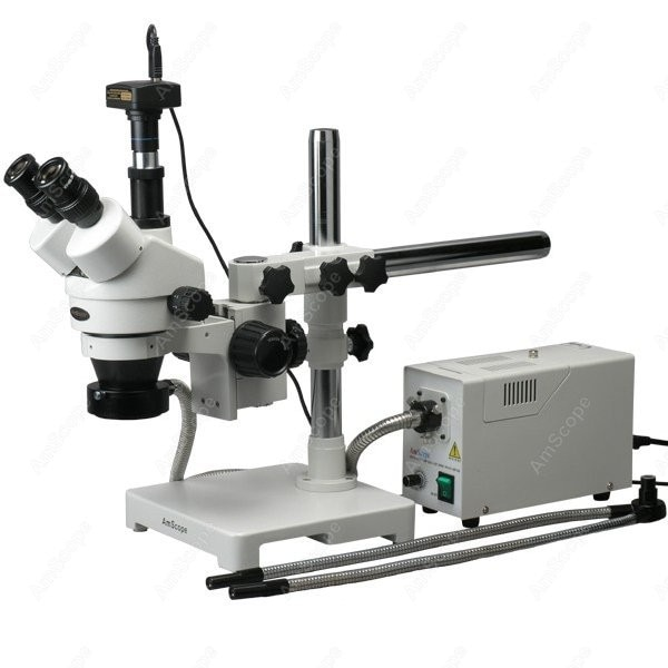 Microscópio estereofônico da fibra ótica -- amscope fornece 3.5x-90x fibra óptica y & anel luzes microscópio estéreo + câmera 1.3mp