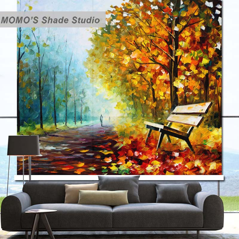 MOMO térmico aislado Blackout tela personalizada árbol dorado ventana cortinas persianas enrollables, Alice 106-110
