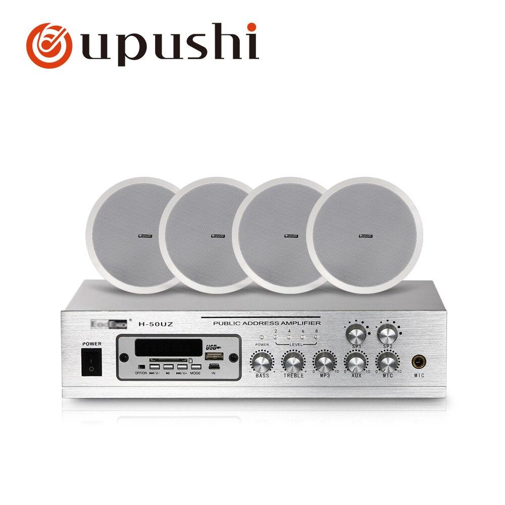 المنزل خلفية نظام موسيقي 2 منطقة pa مكبر للصوت 8 بوصة في السقف المتحدثون 50w المنزل الرقمية الصوت مع MP3 ، USB ، FM ، SD بطاقة
