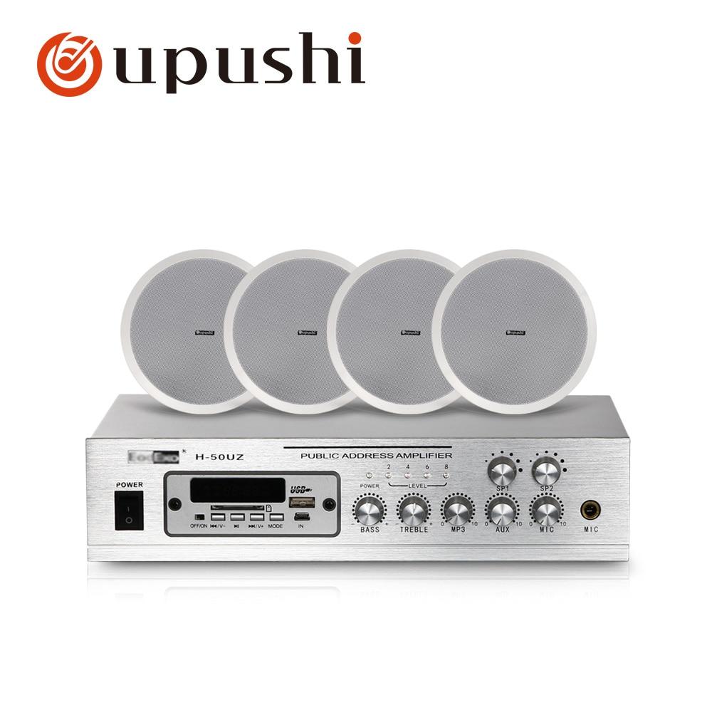 Home achtergrond muziek systeem 2 zone pa versterker 8 inch in plafond speakers 50w thuis digitale audio met MP3, USB, FM, SD card