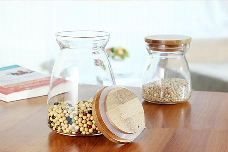 1 ud. 700ml 1100ml caja de almacenamiento de vidrio de borosilicato lata de comida de té cocina tarros contenedores caja de almacenamiento de café tanque JM 003