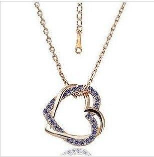 Moda cristal doble Diamante de imitación amor Hart collares colgantes