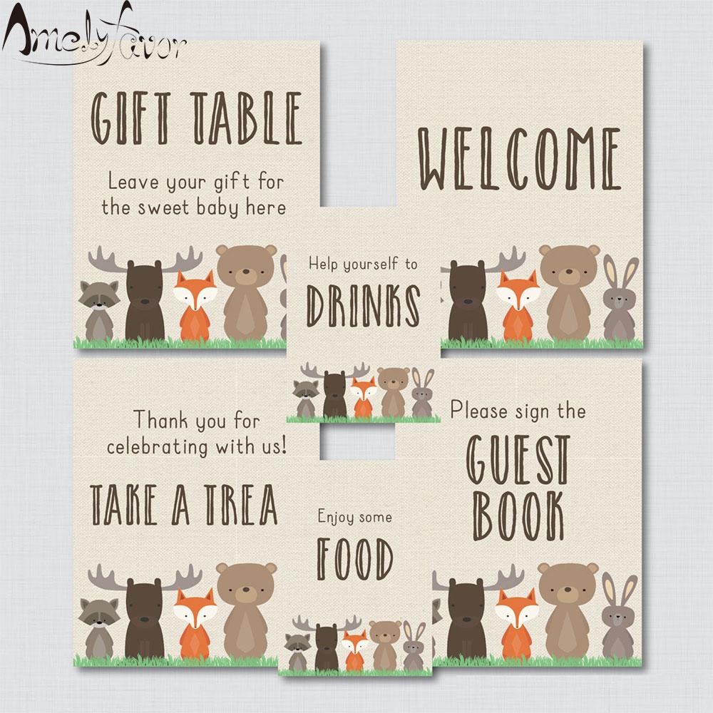 Woodland tema mesa sinais-6 sinais! Sinal de boas-vindas, sinal dos favores, etc-artigos das decorações do evento do aniversário do chá de bebê