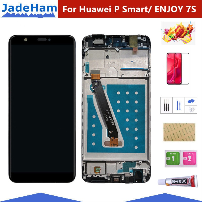 Para Huawei P Smart, pantalla LCD, montaje de digitalizador con pantalla táctil para Huawei P Smart LCD con marco FIG LX1 L21 L22, reemplazo de pantalla
