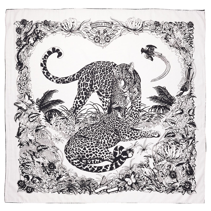 POBING 90x90cm Silk Scarf Women Couple Leopard Print Manual Square Scarves Bee Echarpes Foulards Femme Wrap Bandana Small Hijab