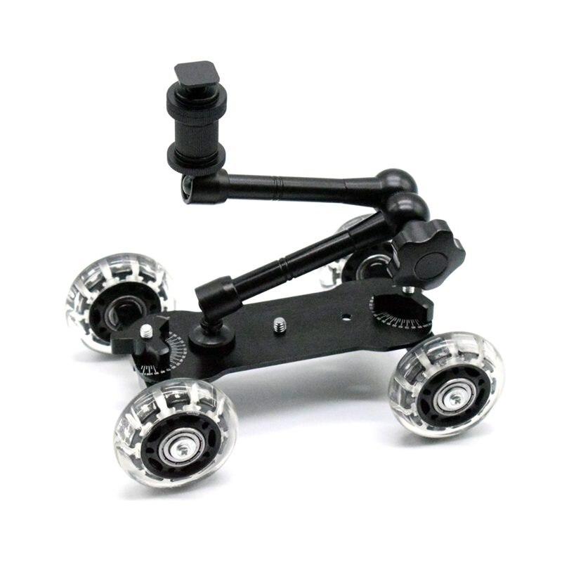 Móvil rodante deslizante Dolly estabilizador patinador deslizador 11 pulgadas articulado brazo mágico Cámara Rail soporte fotografía Coche