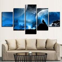 وحدات قماش المشارك غرفة المعيشة جدار الفن 5 أجزاء يلة البدر الغابات الحيوان الذئب اللوحة HD يطبع ديكور المنزل الإطار